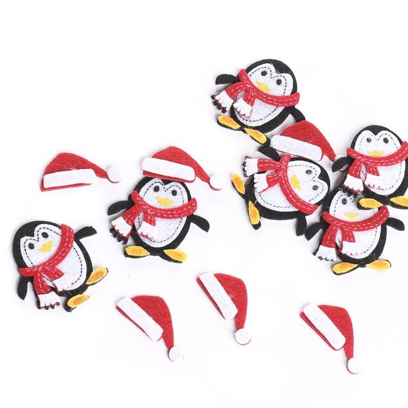 Penguin and santa hat felt stickers squares kids