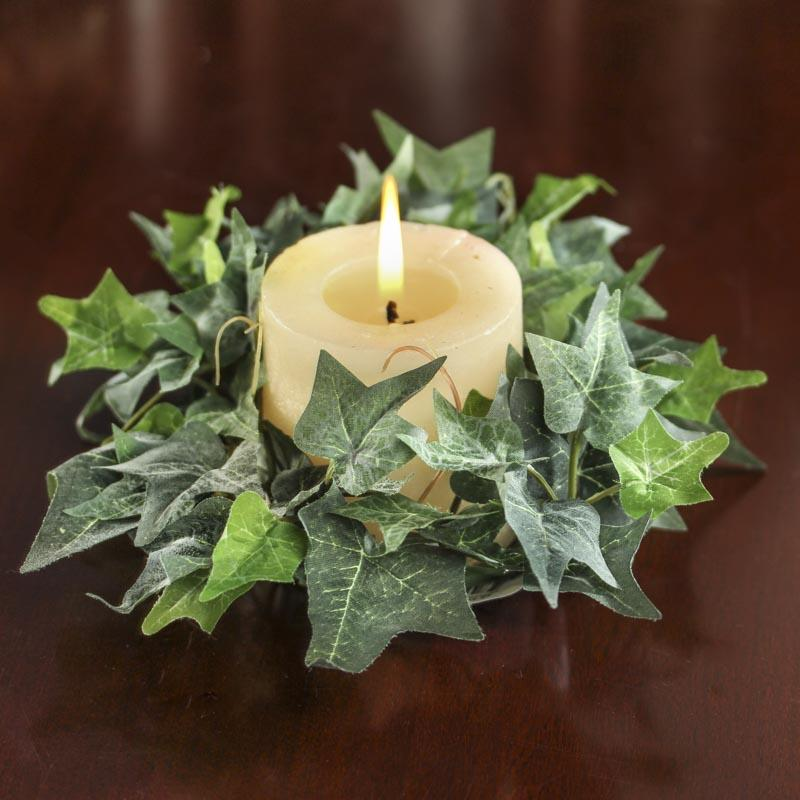 Flocked artificial english ivy candle ring