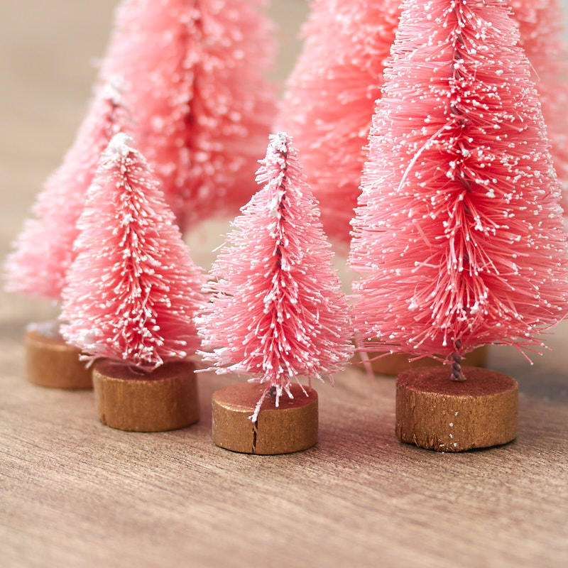 Assorted Frosted Red Bottle Brush Trees Christmas