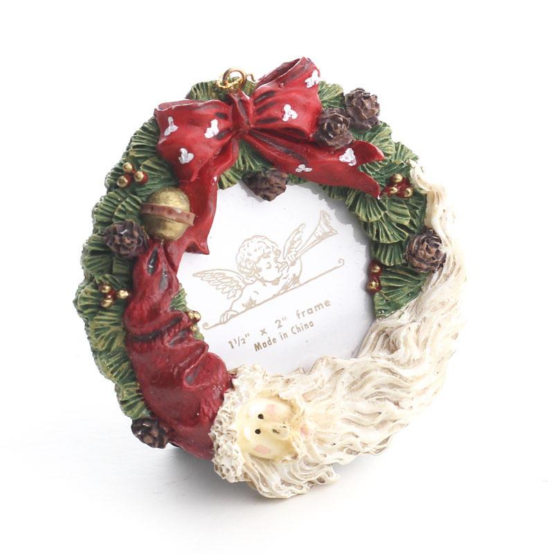 Crescent Santa Christmas Wreath Magnet Picture Frame