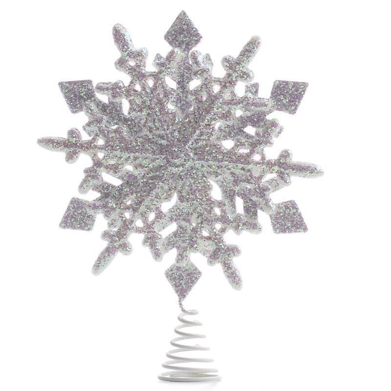 White Iridescent Sparkling Snowflake Tree Topper Trees