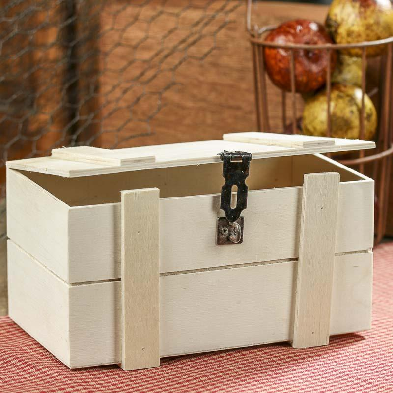Unfinished wood treasure chest keepsake box table and