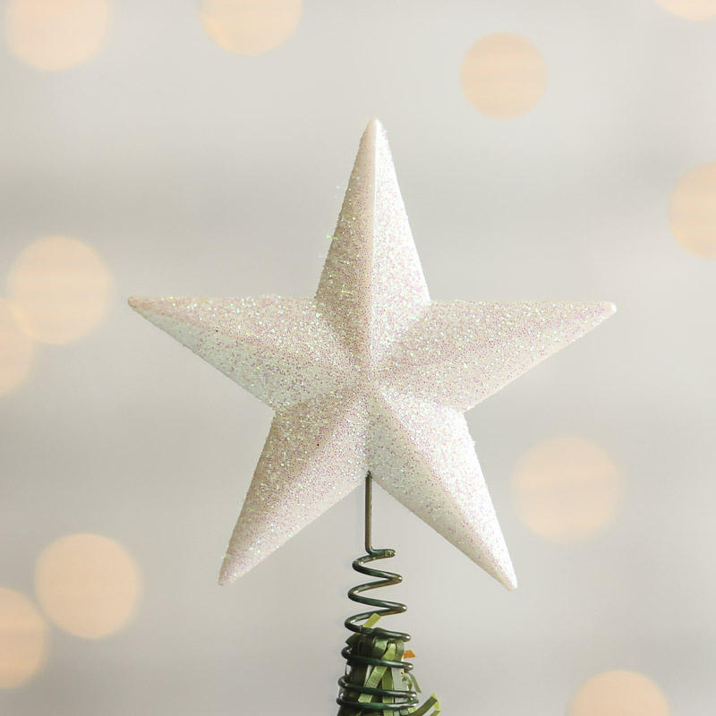Small White Iridescent Star Tree Topper - Trees and Toppers ...