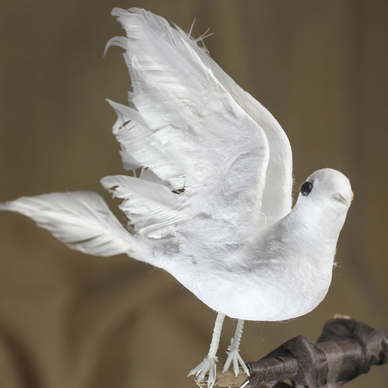 Christmas Tree Doves: White Feather Artificial Dove