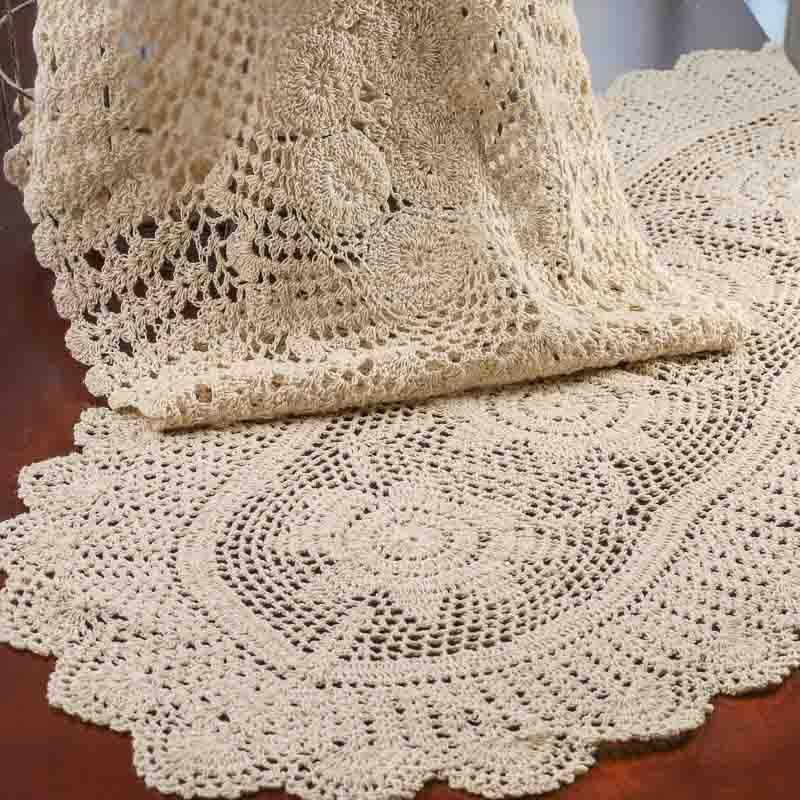 Crochet Oval : Oval Ecru Crochet Doily Runner - Crochet and Lace Doilies - Home Decor