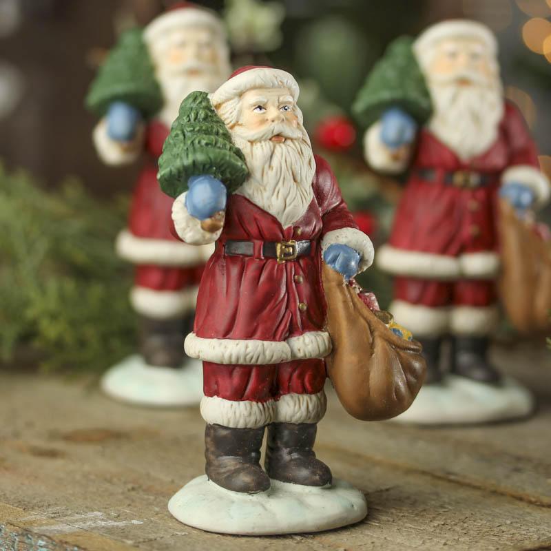 Ceramic santa figurine christmas and holiday primitive