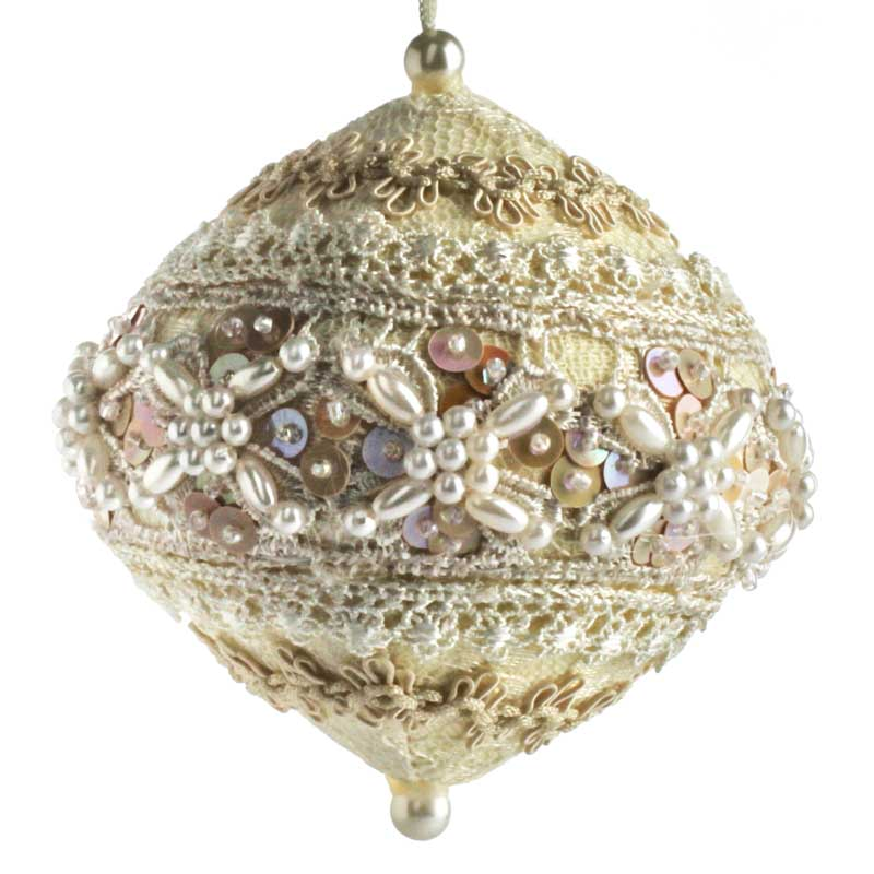 Elegant Lace and Pearl Ball Ornament - Christmas Ornaments ...