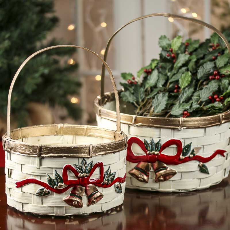 Ivory Christmas Wicker Baskets Holiday Florals