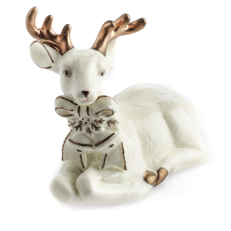 Beach Christmas Cards >> Ceramic Kneeling Deer Figurine - Table Decor - Christmas and Winter - Holiday Crafts