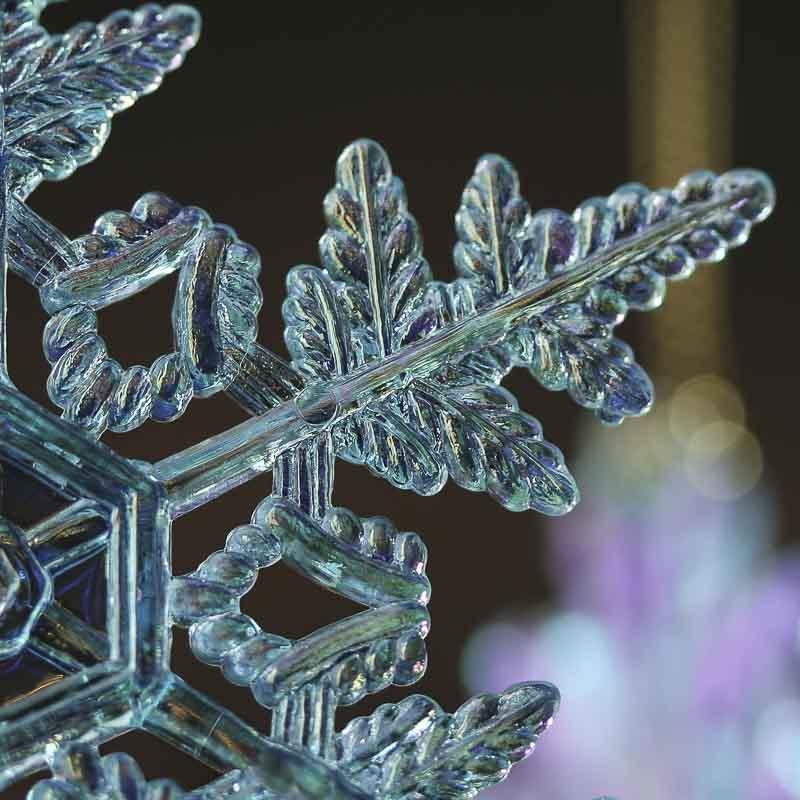 acrylic icy blue iridescent snowflake ornament