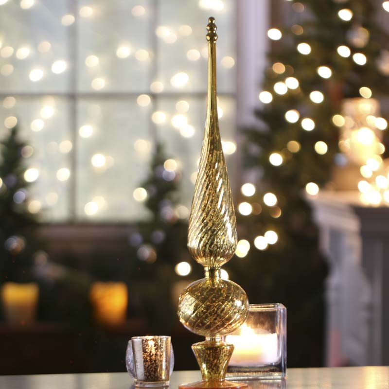Gold mercury glass decorative finial trees and toppers