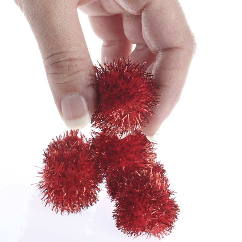 Red tinsel craft pom poms craft pom poms kids crafts for Cheerleading arts and crafts
