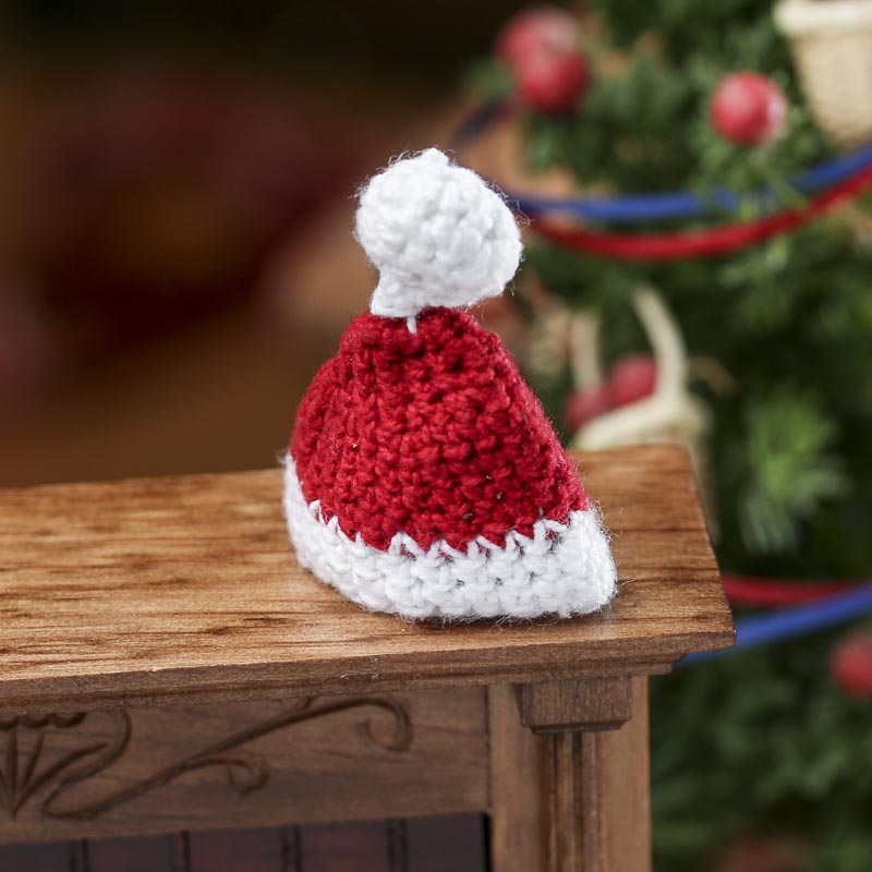 Miniature hand crocheted santa hat doll hats doll for Tiny top hats for crafts