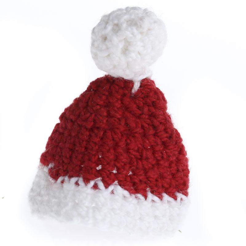 Beach Christmas Cards >> Miniature Hand Crocheted Santa Hat - Doll Hats - Doll Supplies - Craft Supplies