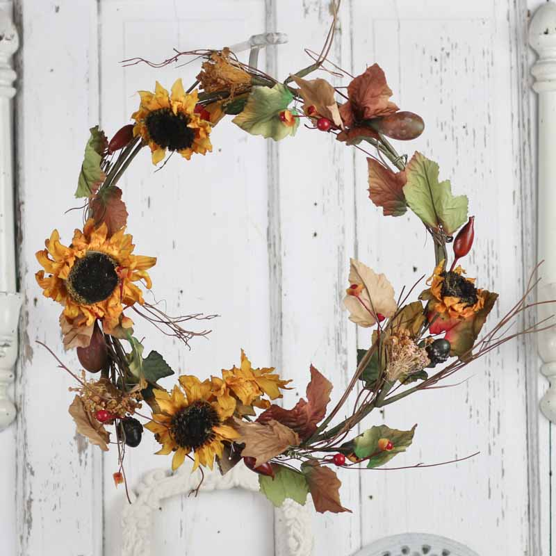 Fall artificial sunflower and leaf wreath on sale for Craft wreaths for sale