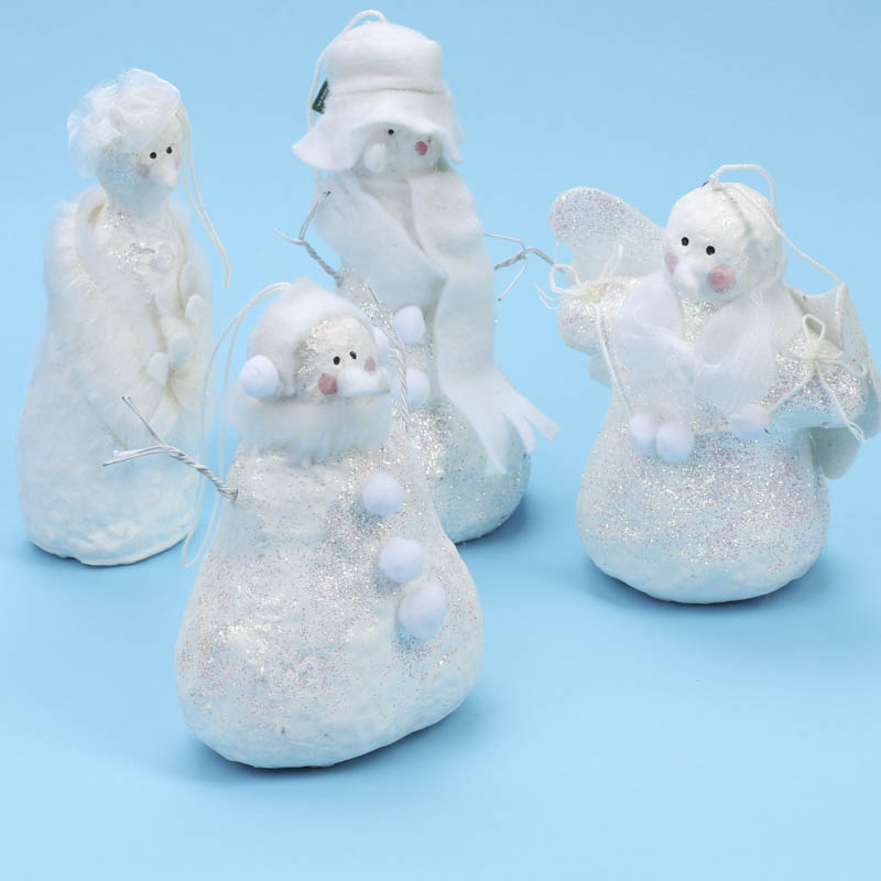 Iridescent Old Fashioned Snowperson Ornament Christmas