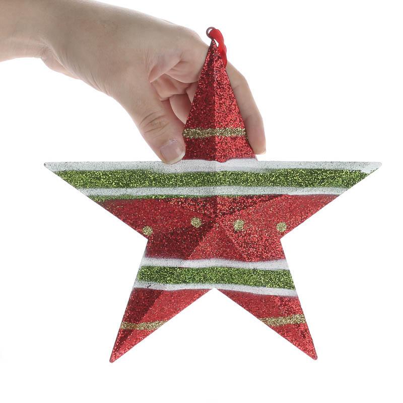 Glittered Christmas Metal Star Ornament - Christmas ...