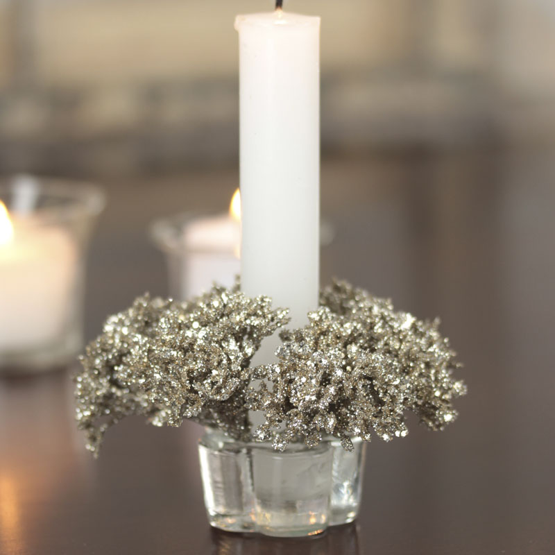 sparkling artificial queen anne 39 s lace candle ring candles and accessories home decor. Black Bedroom Furniture Sets. Home Design Ideas