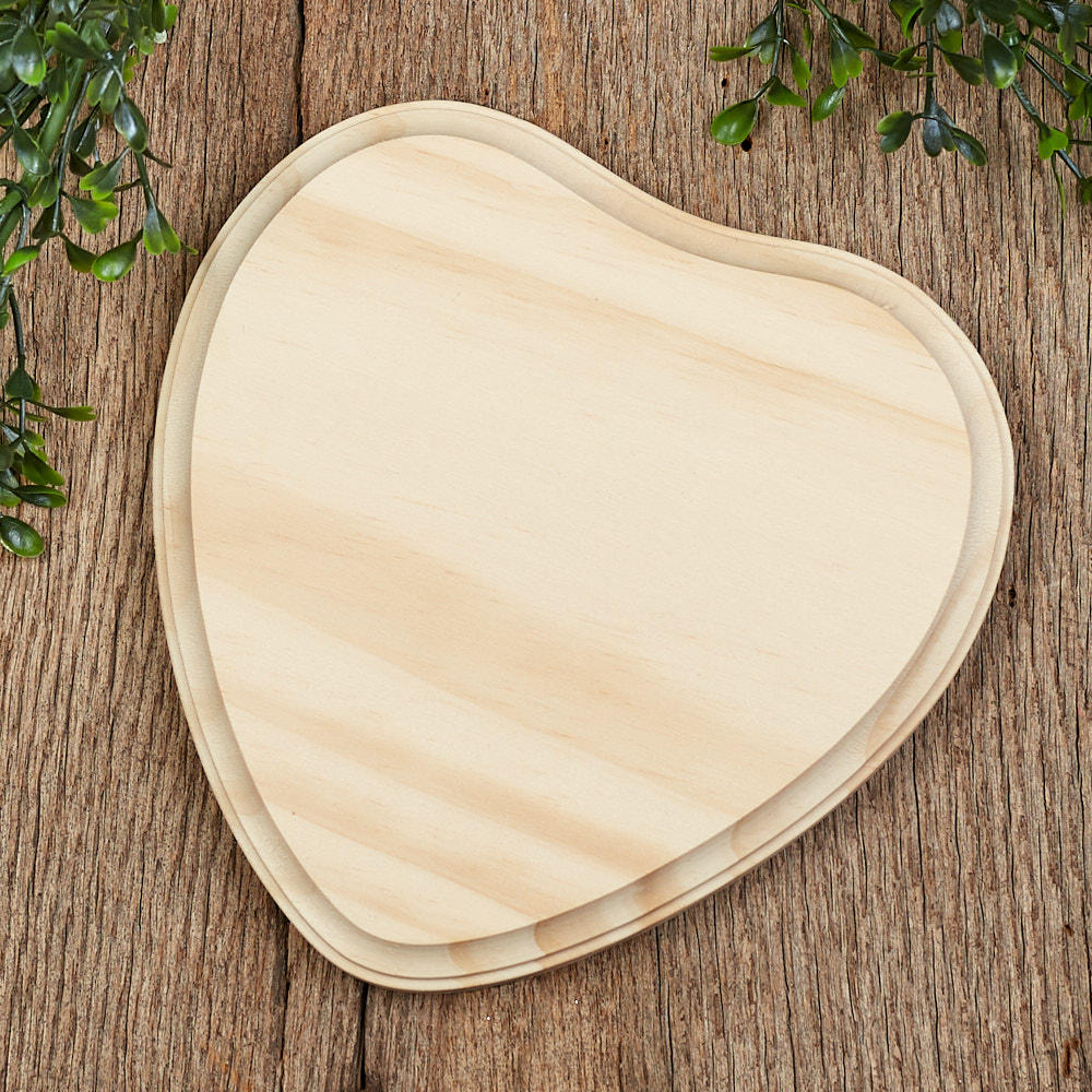 Unfinished wood clipped corner heart plaque wooden for Wood plaques for crafts
