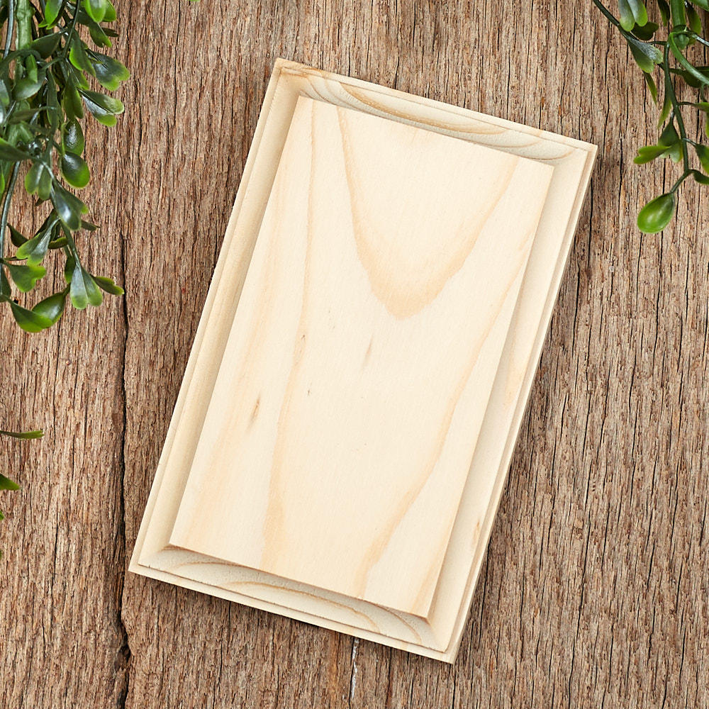 Unfinished Wood Clipped Corner Rectangle Plaque Wooden