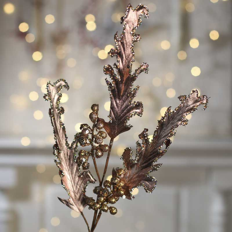 Glittered copper artificial acanthus leaf spray for Acanthus leaf decoration