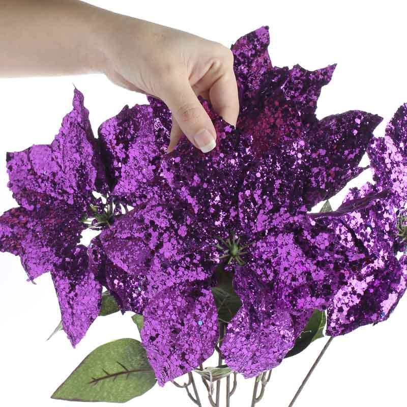 Purple Sparkle Artificial Poinsettia Bush New Items