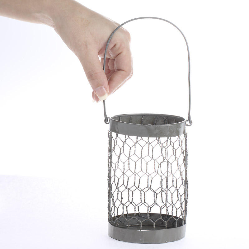 Gray Chicken Wire Jar Holder - Candles and Accessories - Primitive Decor