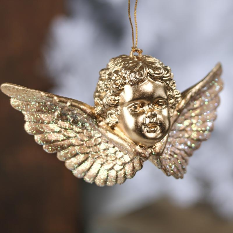 Click Here For A Larger View - Gold Cherub Ornament - Christmas Ornaments - Christmas And Winter