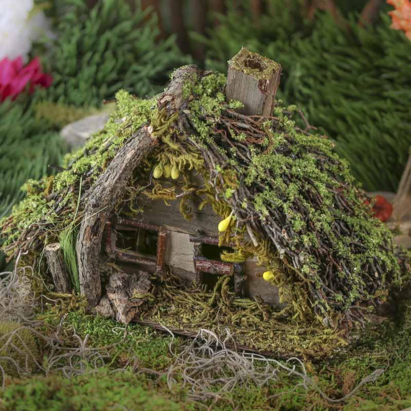 Mini Mossy Twig House Fairy Garden Miniatures Dollhouse