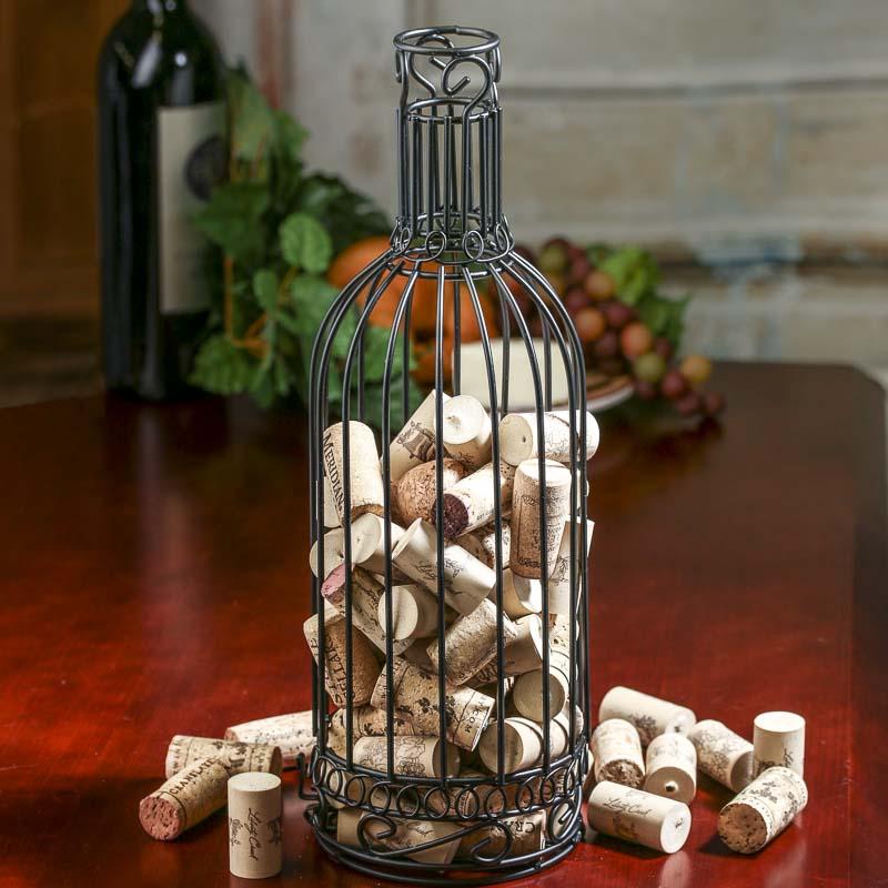 Black Metal Wine Bottle Cork Holder Decorative