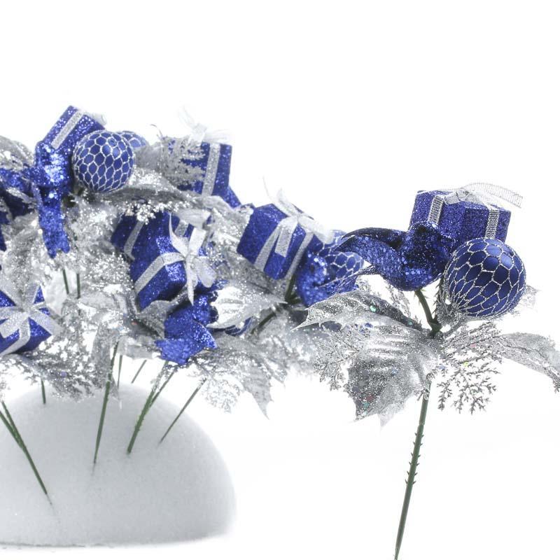 Royal Blue Christmas Ornaments Part - 23: Royal Blue Gift And Ornament Christmas Floral Picks