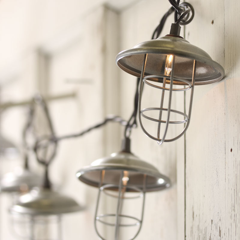 Clear Bulb and Brown Cord Silver Lantern String Lights - Decorative Lighting - Lights /Lamp Kits