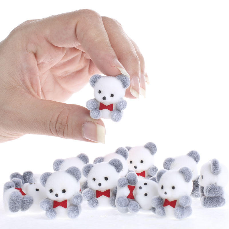 Miniature Flocked Baby Panda Bears Animal Miniatures