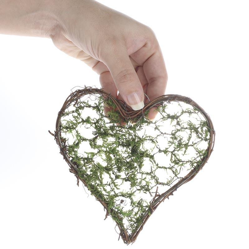 "Lighted Twigs Home Decorating: 5-3/4"" Mossy Grapevine Twig Heart"