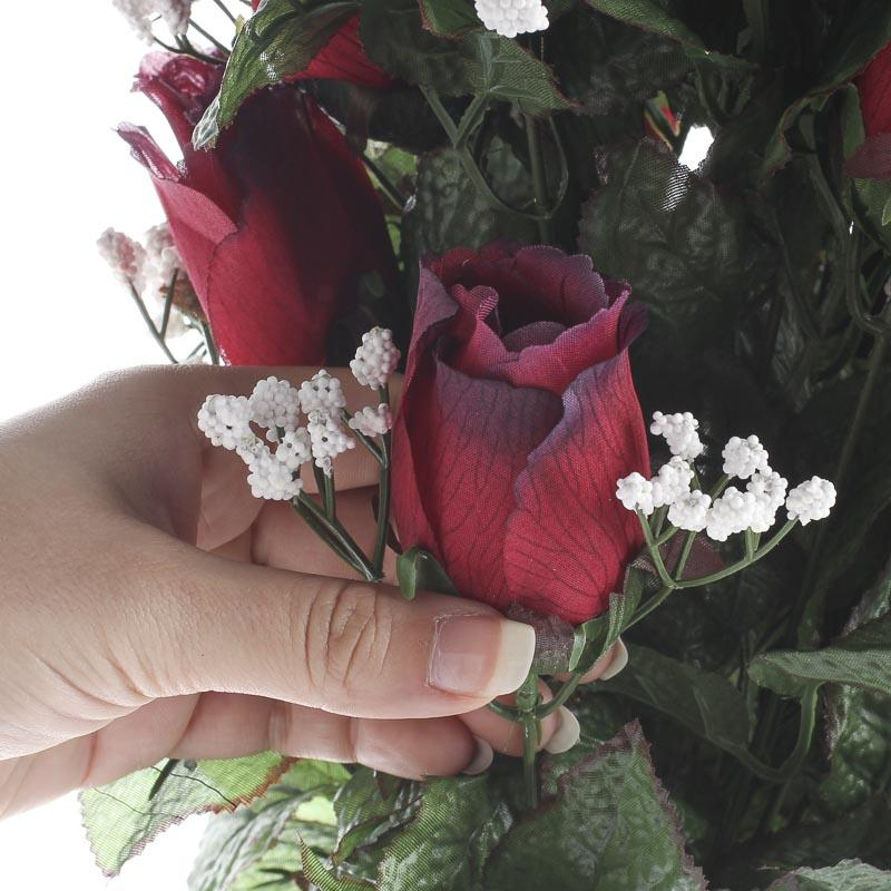 Red grand artificial rose bouquet cemetery supplies