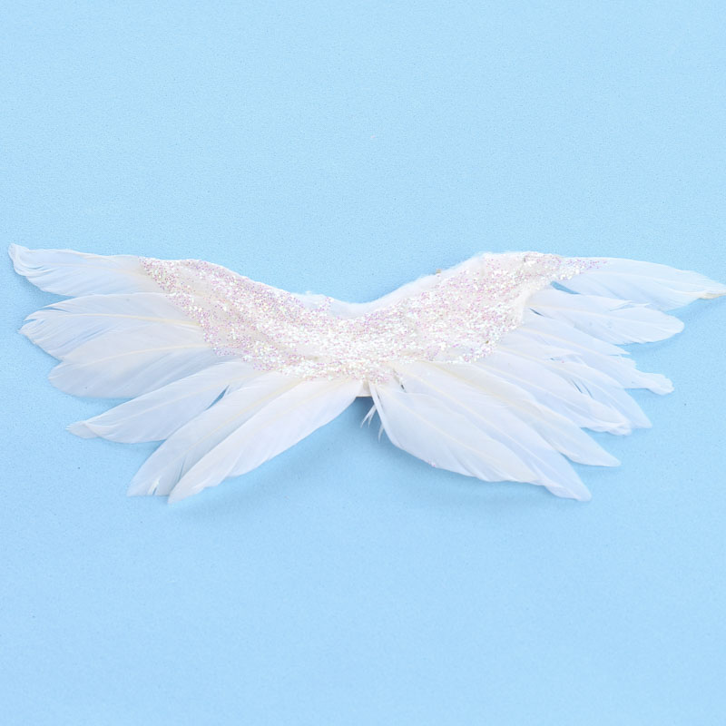 Small Iridescent Glittered White Feathered Angel Wings