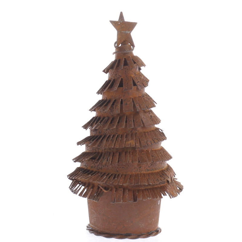 Small Rusty Tin Christmas Tree Figurine