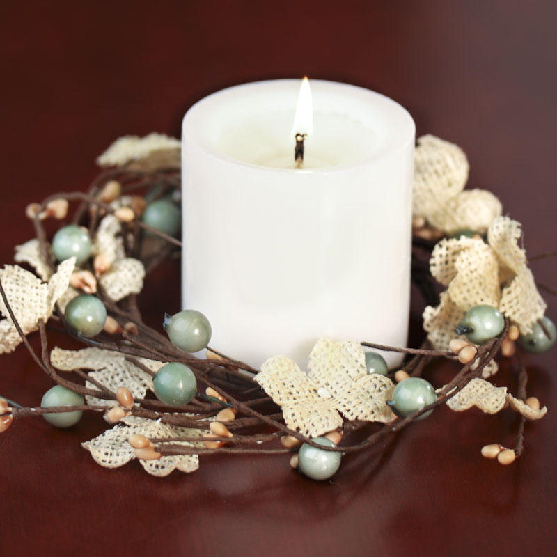 Burlap hydrangeas and berries candle ring candles
