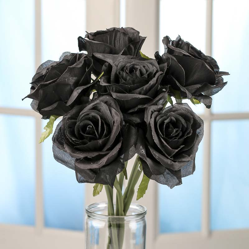 Black Artificial Open Rose Bouquet Bushes Bouquets