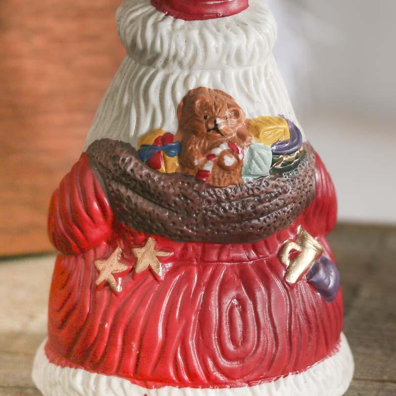 Vintage Inspired Ceramic Santa Bell Table Decor