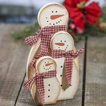Primitive Snowman Family Grouping