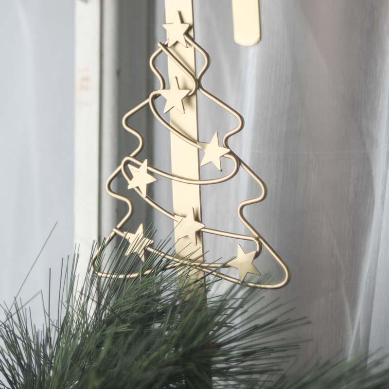 Gold Christmas Tree Over The Door Wreath Hanger