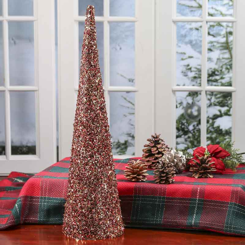 Red And Gold Christmas Trees: Red And Gold Sequin Cone Tree