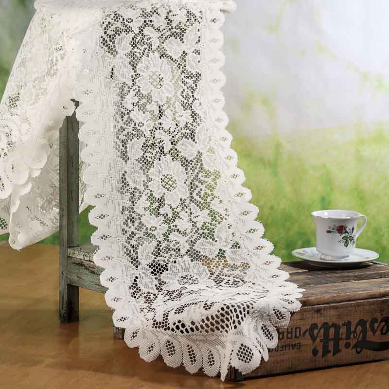 Ivory lace doily table runner crochet and lace doilies for Lace home decor