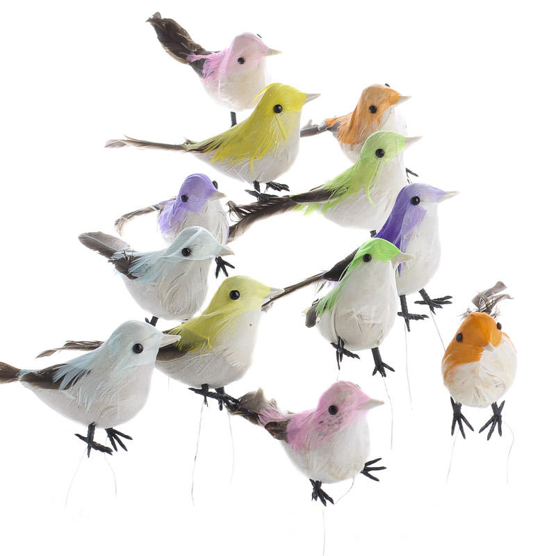 Multicolored feathered artificial birds artificial birds for Feathered birds for crafts