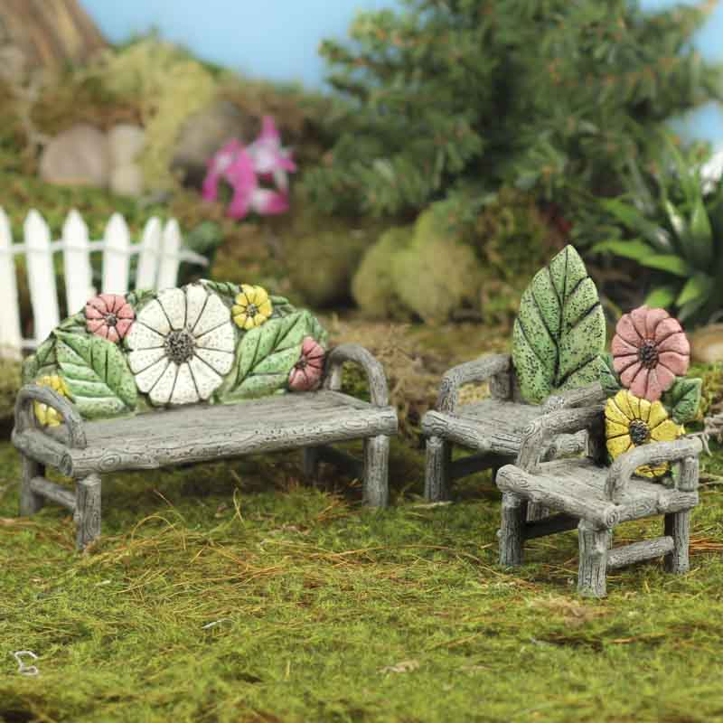 Miniature Flower And Log Bench And Chairs Set Fairy
