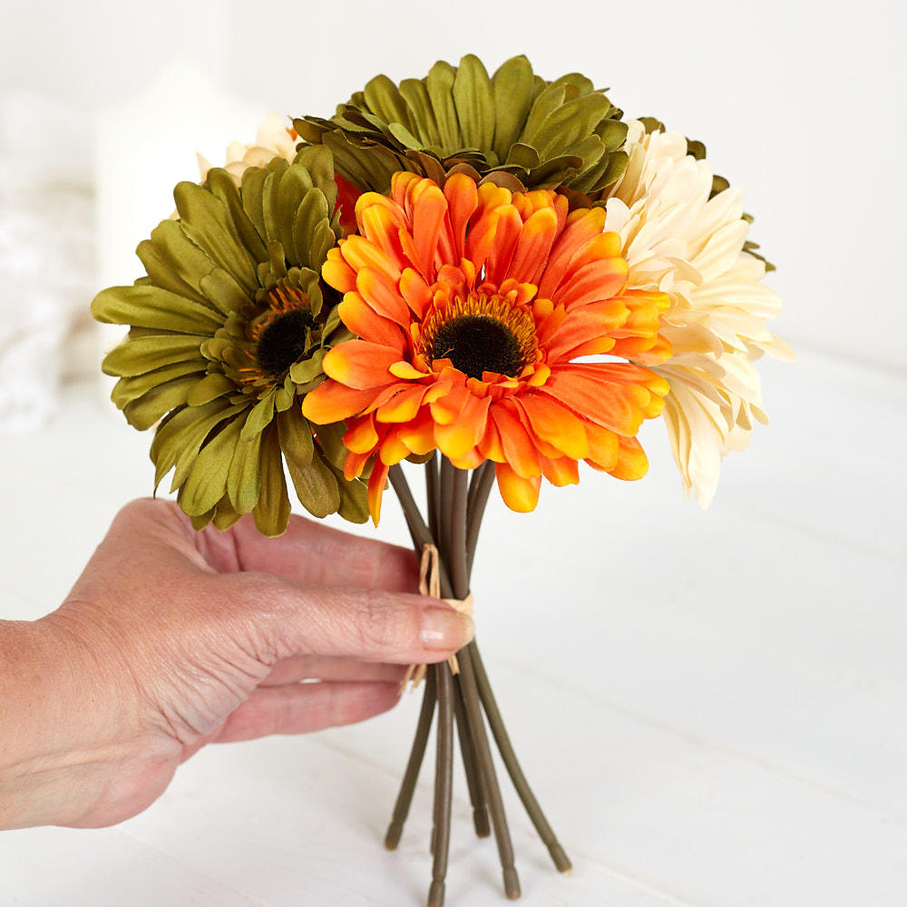 Orange, Yellow and Sage Artificial Gerbera Daisy Bouquet ...
