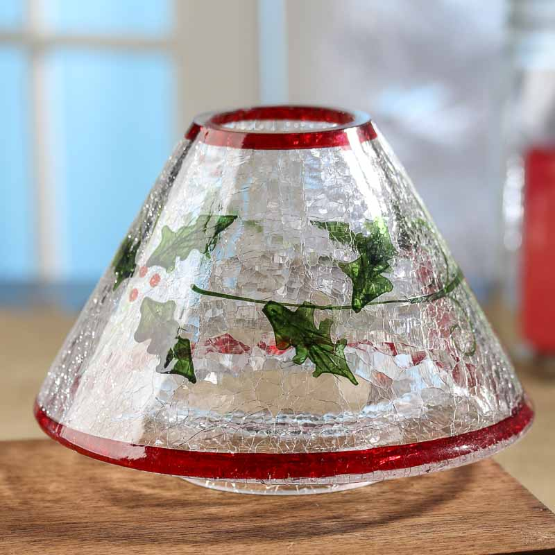 Holly Crackle Glass Jar Candle Shade On Sale Holiday