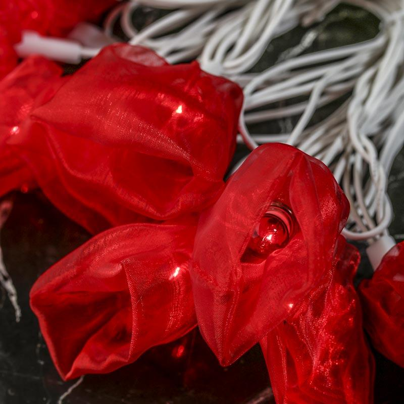 Red Decorative String Lights : Red Organza Bloom Decorative String Lights