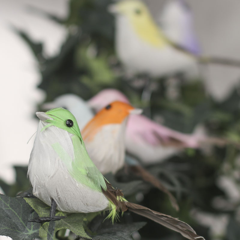 Multicolored feathered artificial birds birds for Fake birds for crafts